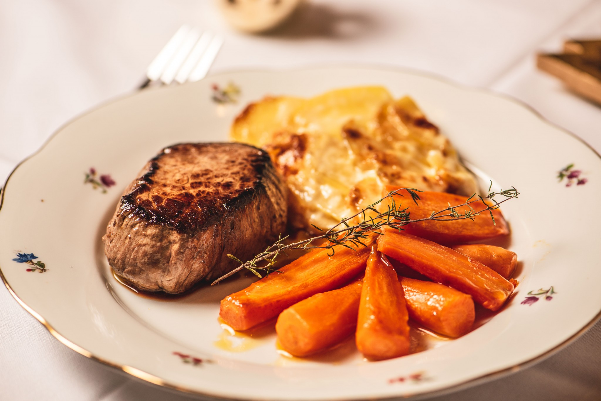 Rindsfilet mit Cognacsauce & Kartoffelgratin